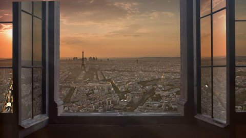 paris skyline seen from an open window aerial day to night timelapse at the sunset to night city lighting up sparking eiffel tower panorama from montparnasse 4k