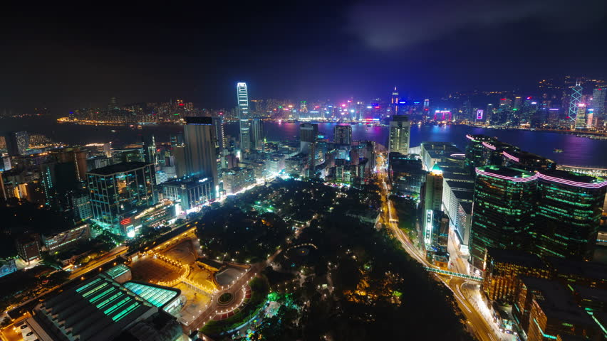 Night light city scape 4k time lapse from hong kong china | Shutterstock HD Video #8865850