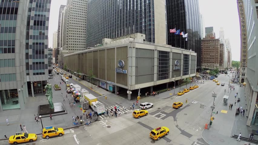 New York Aug 23 2017 Hilton Midtown Manhattan Hotel On Avenue Of The Americas With Traffic At Summer Day Aerial View
