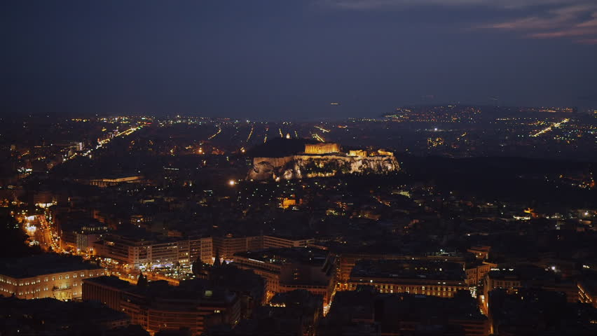 Real time clip of the Acropolis.Parthenon at night. | Shutterstock HD Video #8938780