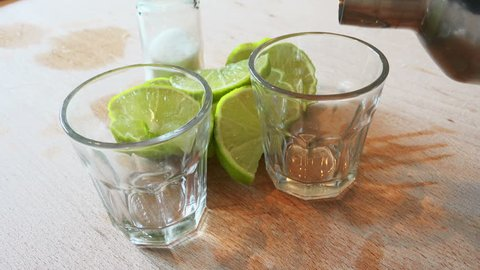 pouring tequila shots 4K