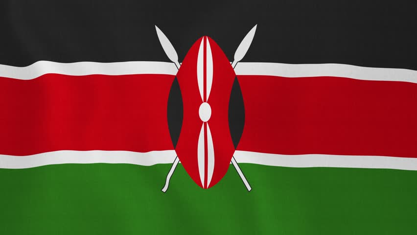 [loopable] Flag of Kenya. Kenyan official flag gently waving in the wind. Highly detailed fabric texture for 4K resolution. 15 seconds loop. Source: CGI rendering. Clip ID: ax686c | Shutterstock HD Video #8959540