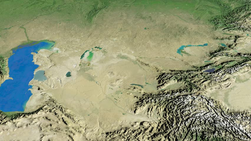 Glide Over The Satellite Map Of Kazakhstan Country Area - Kazakhstan map hd