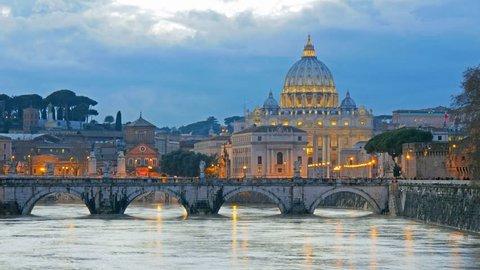 St. Peter's Basilica, Ponte Sant Angelo Bridge, Vatican. Rome, Italy. Time lapse