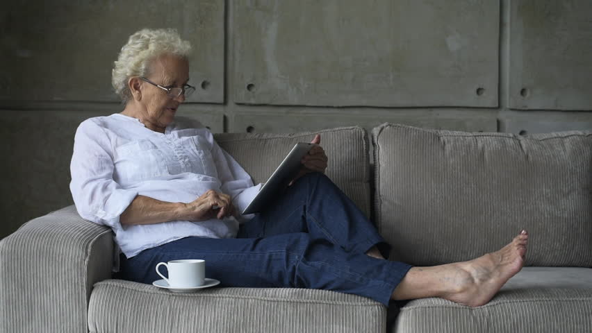 Little Old Granny Working with Stock Footage Video (100%