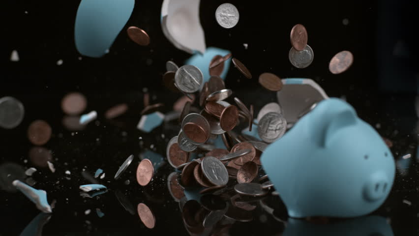 Piggy bank breaking in slow motion; shot on Phantom Flex 4K at 1000 fps