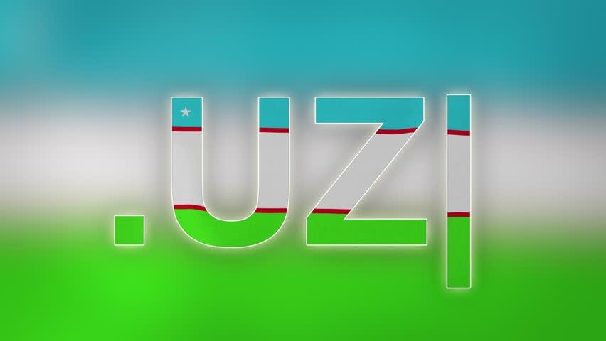 "UZ - internet domain of Uzbekistan. Typing top-level domain "".UZ"" against blurred waving national flag of Uzbekistan. Highly detailed fabric texture for 4K resolution. Clip ID: ax1069c"
