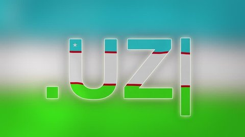 "UZ - internet domain of Uzbekistan. Typing top-level domain "".UZ"" against blurred waving national flag of Uzbekistan. Highly detailed fabric texture for 4K resolution. Clip ID: ax1069c"