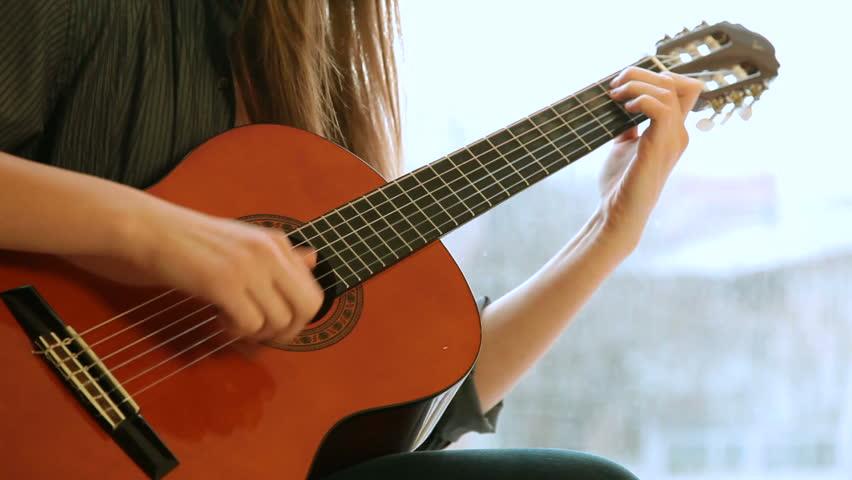 Teen Girl Playing Guitar Stock Footage Video 3358688 -4507