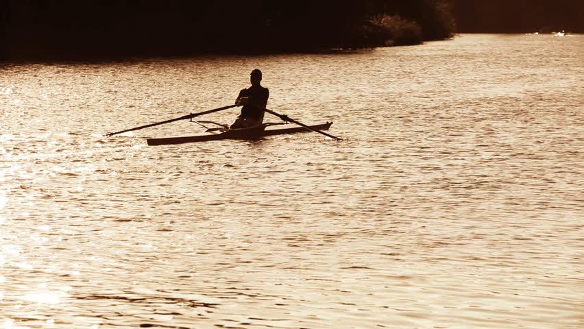 Header of oarsman