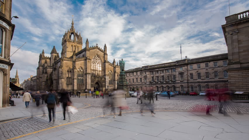 EDINBURGH, UNITED KINGDOM - 24 February 2015: Timelapse of Tourists Passing by St Giles' Cathedral