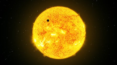 Sun surface, protuberance. Transit of Venus or Mercury.  Bright yellow solar flares are shining.  Photosphere and corona are beautiful. Black starry sky on background. View in telescope. Planet orbit.