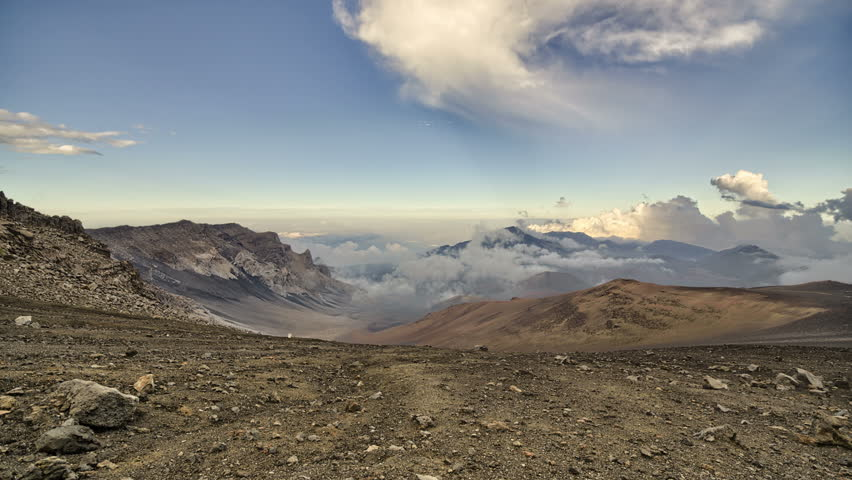 4k, Clouds drifting through volcanic mountain range time lapse, Haleakala, Maui, Hawaii