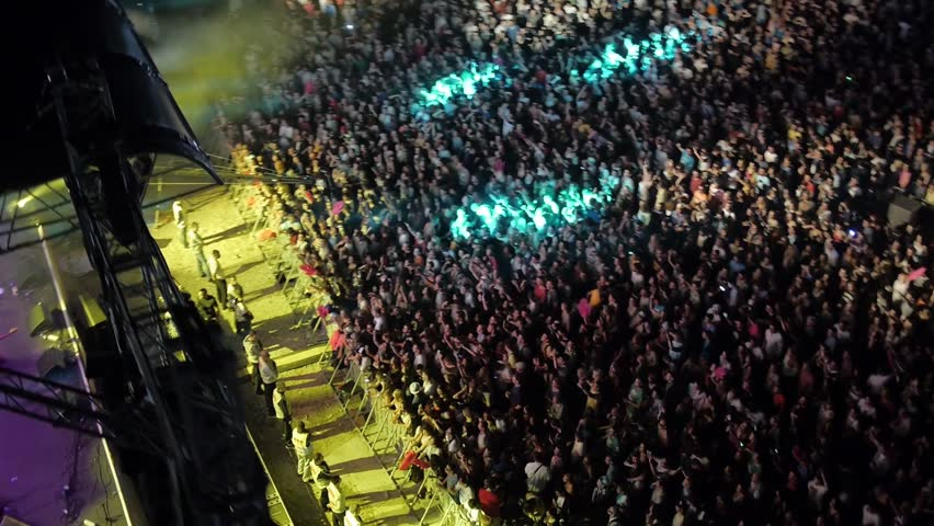 BELGRADE, SERBIA 2014: Flying over the stage and spectators at the music concert. | Shutterstock HD Video #9154550