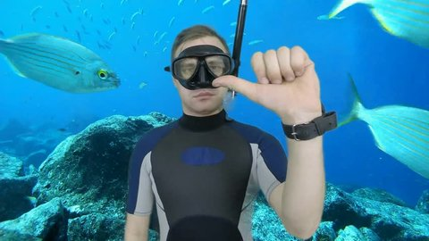 Diving sign- divemaster  ask about DIRECTION,  WHICH WAY ,also a available on the green screen all of diving sings from course (open water diver)