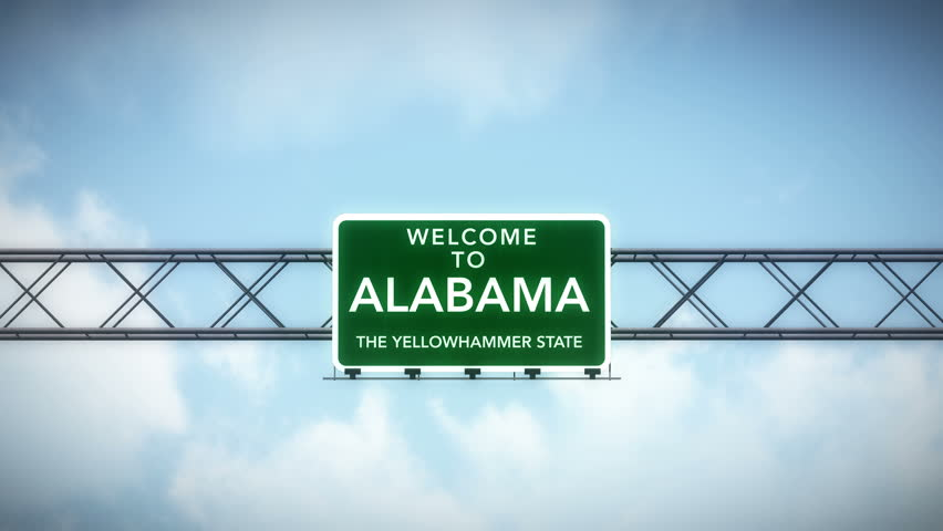 4K Passing under Welcome to Alabama State USA Interstate Highway Sign with Matte Photo Realistic 3D Animation 4K 4096x2304 ultra high definition