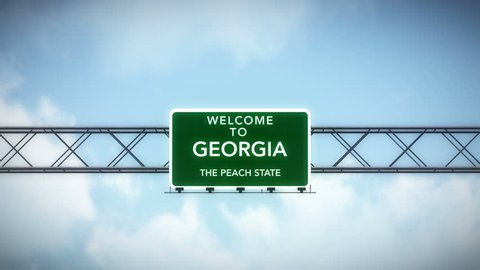 4K Passing under Welcome to Georgia State USA Interstate Highway Sign with Matte Photo Realistic 3D Animation 4K 4096x2304 ultra high definition