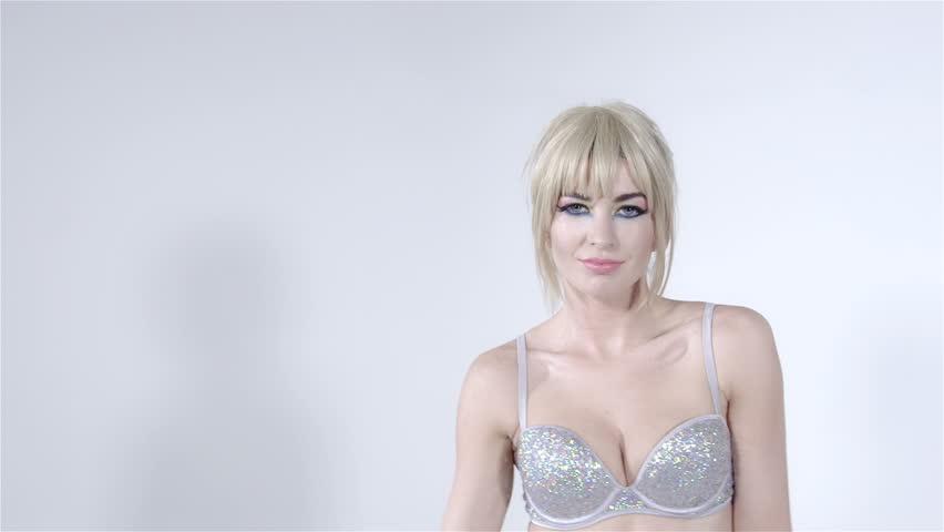 Blond girls wearing sexy bras