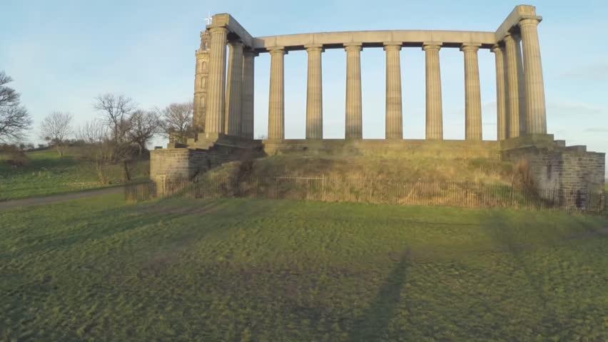 Aerial shot over Calton Hill in Edinburgh, Scotland. Makes the perfect establishing shot to Edinburgh