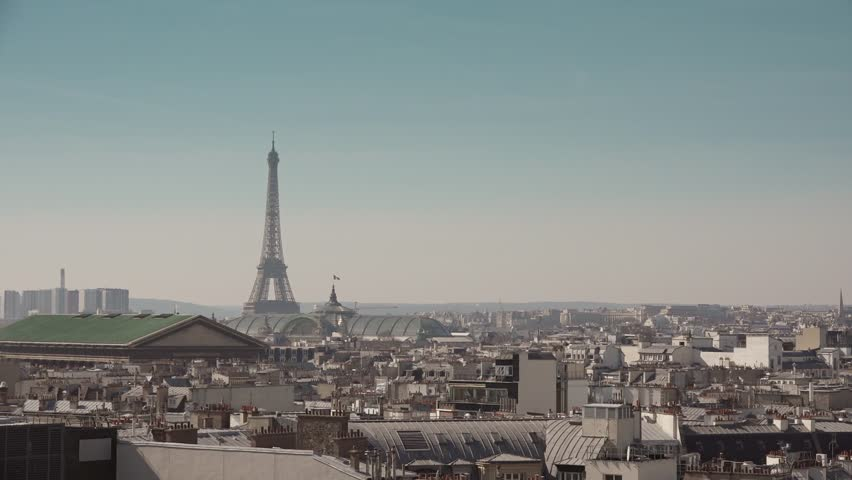Famous Eiffel Tower and roofs of Paris - 1080p Establishing Shot of the Eiffel Tower and the roofs of Paris - 60fps | Shutterstock HD Video #9194420