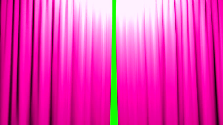 Pink Curtains Opening And Closing Stage Theater Cinema Green Screen
