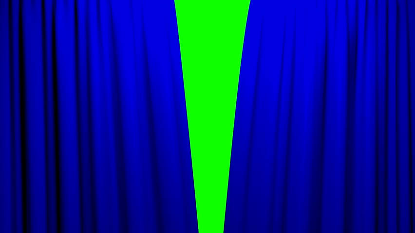 Blue Curtains opening and closing stage theater cinema green screen