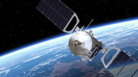 Satellite Deploys Solar Panels. 3D Animation.