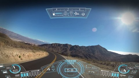 car driving pov application display hud motion graphics GPS technology game