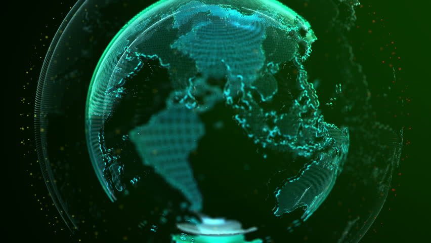 Digital Globe of Earth. Rotation Stock Footage Video (100% Royalty on
