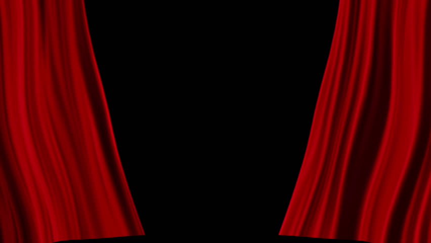 Red Curtains Open Isolated Black Backgraund Stock Footage Video 9306890