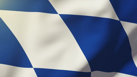 Bavaria flag waving in the wind. Looping sun rises style.  Animation loop