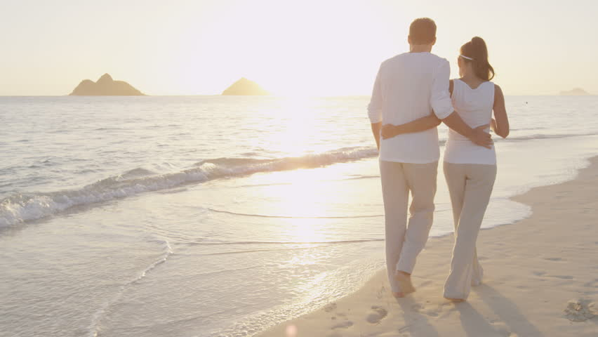 Walking On Beach Enjoying Sunrise Vacation Casual In Love Walk Beautiful Summer Woman And Man Holidays Travel