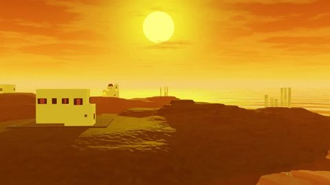 Sunset animation and colored atmosphere, the sun is near the horizon and the sea is golden, the colors are orange and yellow in the sky.