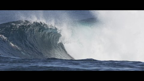 a big wave in slow motion