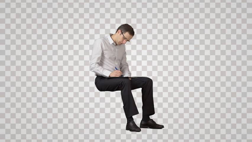 person sitting in chair back view png. Sitting Businessman Looks At And Writes Something. Front View. Footage With Alpha Channel. Person In Chair Back View Png