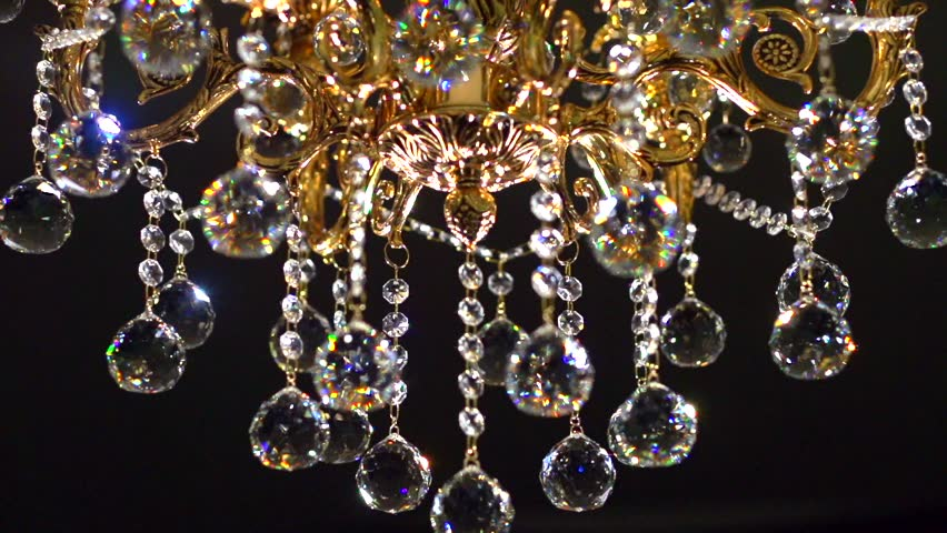 Crystal Chandelier Shot With Blurred Focus. 240 Fps. High Speed ...