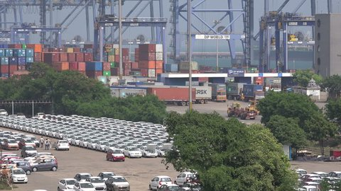 CHENNAI, INDIA - 26 NOVEMBER 2014: Overview of Chennai Port, where new (Hyundai) cars are ready to be exported. Chennai has a big car manufacturing industry, also for foreign brands.