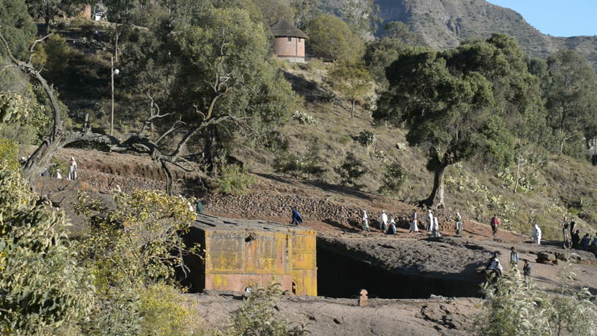 LALIBELA, ETHIOPIA - January 4, 2015 - The Church of St. George is one of eleven monolithic churches in Lalibela on Januar 4, 2015 in Lalibela, Ethiopia.