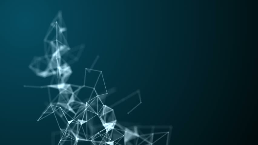 Abstract molecular structure with polygonal objects in 3D space on dark blue background. Looped animation