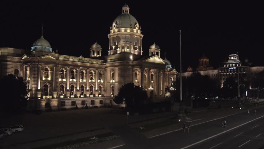 Night aerial view on Serbian parliament building in the center of Belgrade capital city.