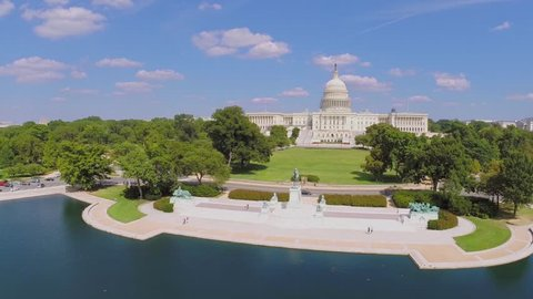 WASHINGTON - AUG 26, 2014: United States Capitol and Ulysses S. Grant Memorial at summer sunny day in Washington DC. Aerial view. Ulysses S. Grant was the 18th President of United States in 1869–1877