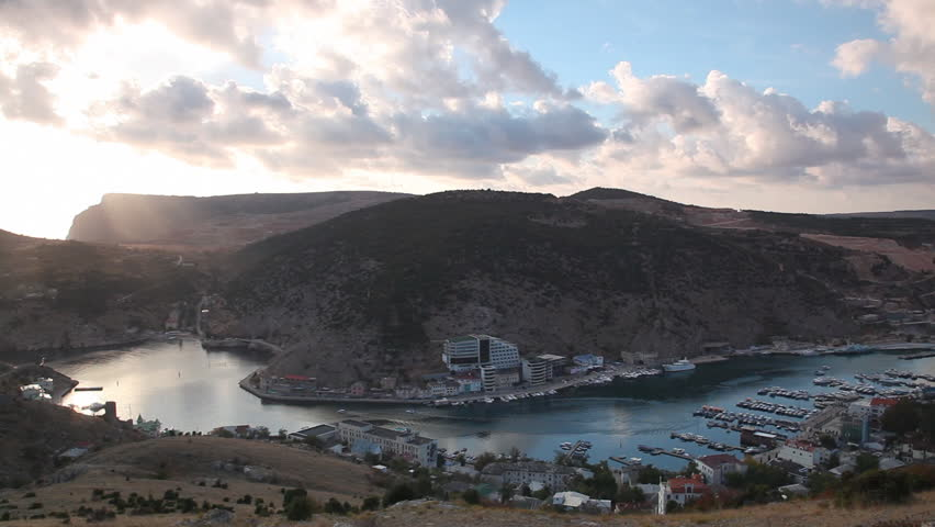 View of a bay in Balaklava on a sunset in the fall, the Crimea - HD stock video clip