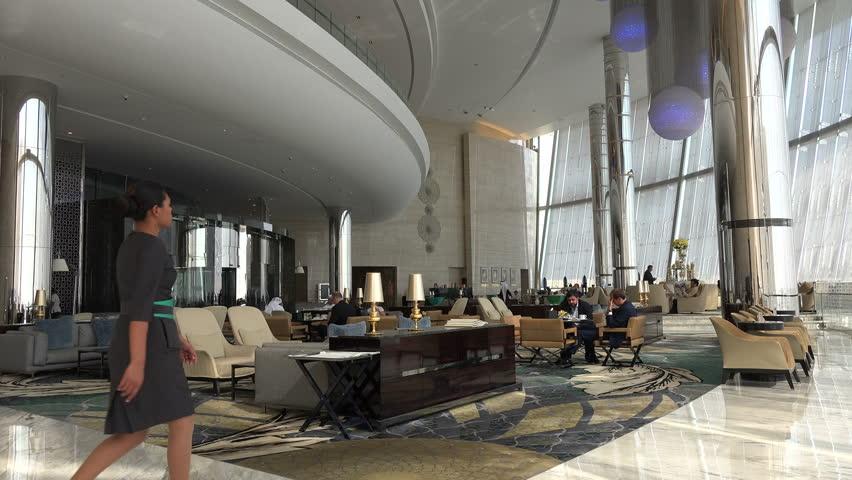ABU DHABI, UAE - 21 JANUARY 2015: Hotel lobby and restaurant in the modern Etihad Towers in Abu Dhabi.