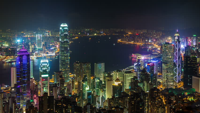Hong kong night light water traffic city panorama 4k time lapse china | Shutterstock HD Video #9532910