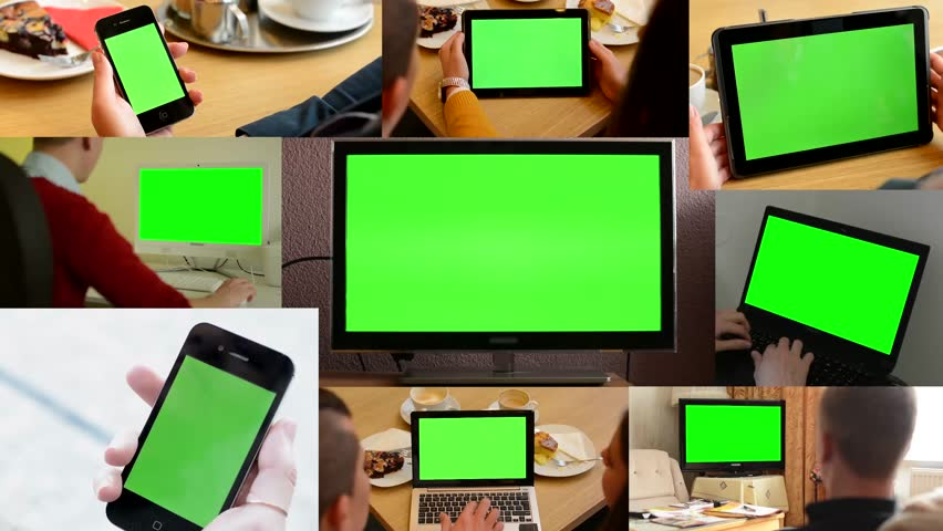 4K MONTAGE (9 VIDEOS) - technology devices green screen - people working