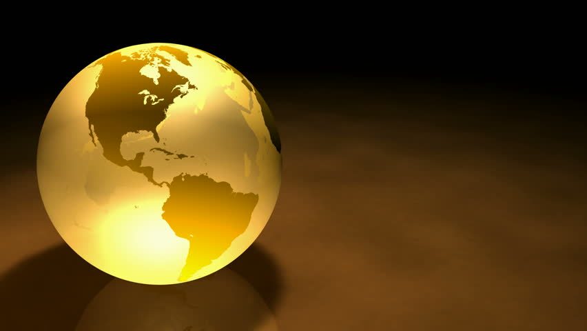 Glassy Gold colored Earth Animation.  Alpha Matte make it ready to be used on another background or Footage. Seamless Loop