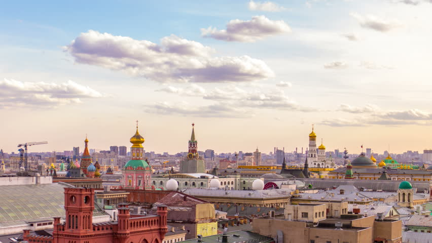 Moscow panorama. 4k timelapse. Aerial view. Kremlin and downtown. | Shutterstock HD Video #9594740