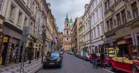 PRAGUE, MARS, 2015.  Stop Motion timelapse, moving throuhh street in Mala Strana, Prague.
