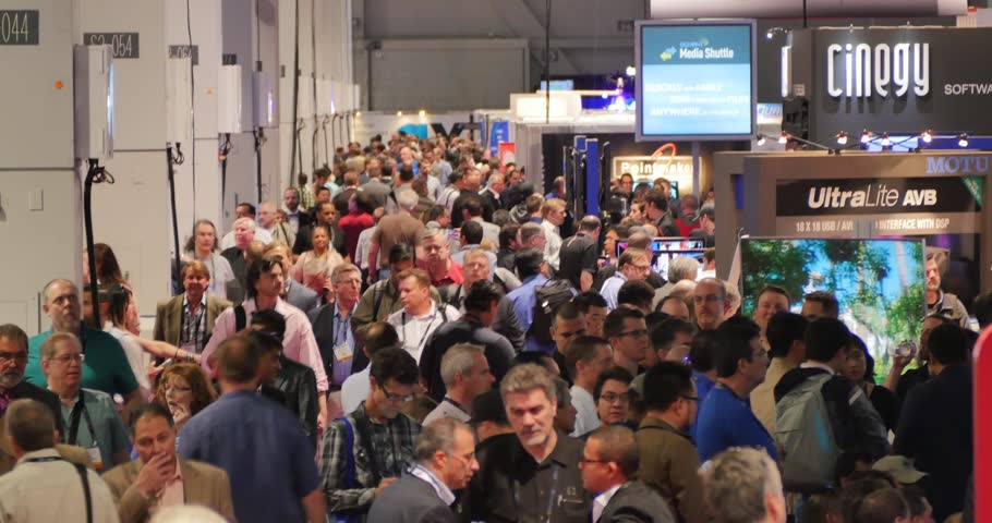 LAS VEGAS, NV - April 15: Crowd of people at NAB Show 2015 exhibition in Las Vegas Convention Center. NAB Show is an annual trade show produced by the National Association of Broadcasters. April 13-16