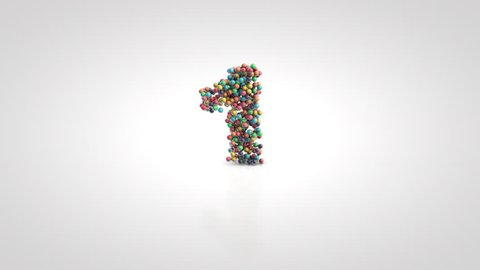 Number 1 with moving a swarm of glossy colorful 3d balls on a white background